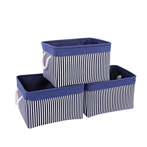 TcaFmac Navy Fabric Storage Basket [3-Pack] Collapsible Canvas Storage Containers Organizing Baskets with Sturdy Cotton Rope Handles Baskets for Gifts Empty 15 x 11 x 9.5 inch (navy patchwork, 3-Pack)