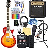 エピフォン レスポール Epiphone Les Paul Standard Plus-top PRO HS エレキギター マーシャルアンプ付 初心者 入門18点セット【ZOOM G1XFour マルチエフェクター付】