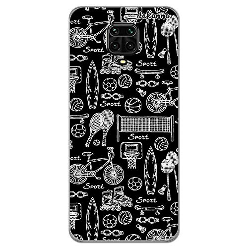 dakanna Funda para [ Xiaomi Redmi Note 9S – 9 Pro – 9 Pro MAX ] de Silicona Flexible, Dibujo Diseño [ Patron Figuras Deportivas Tenis Baloncesto Patinaje ], Color [Borde Transparente]