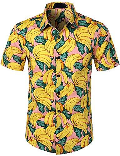 Allskid Camisas de Hombre Manga Corta Estilo Hawaiano Plátano Impreso Casual Verano Tops Men's Shirts (S(Bust:37.8'), Amarillo)