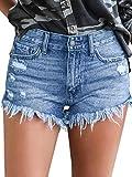 Govc Womens Jean Shorts Mid-Rise Frayed Raw Hemline Ripped Denim Short Jeans(Lightblue,M)