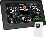 Kalawen Stazione Meteo Automatica Digitale Wireless Meteorologica con Ampio Schermo LCD Display Sveglia Tempo Data Temperatura umidità Previsioni Meteo con Sensore Esterno Wireless
