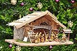 ÖLBAUM-Krippe K100-MFHO-BRK-T2L Große XXL 100 cm Weihnachtskrippe, mit Holz-Brunnen + Dekor, Massivholz historisch braun - mit 12 x Premium-Krippenfiguren in Holzfiguren-Optik + Engel - Krippe mit