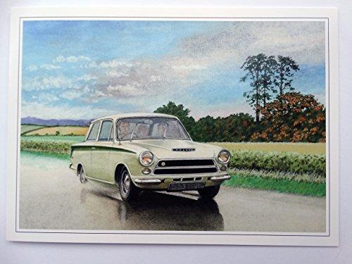 GDP Nostalgic Classic Ford Lotus Cortina Mk1 One Card Design Open Blank Birthday Card