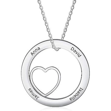 Collar Personalizada con 4 Nombres Grabado Collar con Colgante de Corazón Acero inoxidable Collar para Madre Hija Mujer Regalo para el Día de la Madre San Valentín Navidad