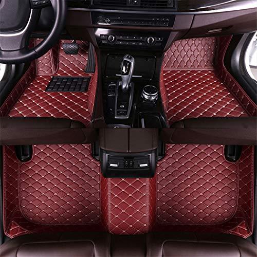 Jiahe El Alfombra Coche para Cadillac Escalade Platinum 2006-2016 Alfombra Personalizada Coche para Cuero Esteras Coche Antideslizantes Alfombrillas Moqueta Impermeables Set Vino Rojo Color
