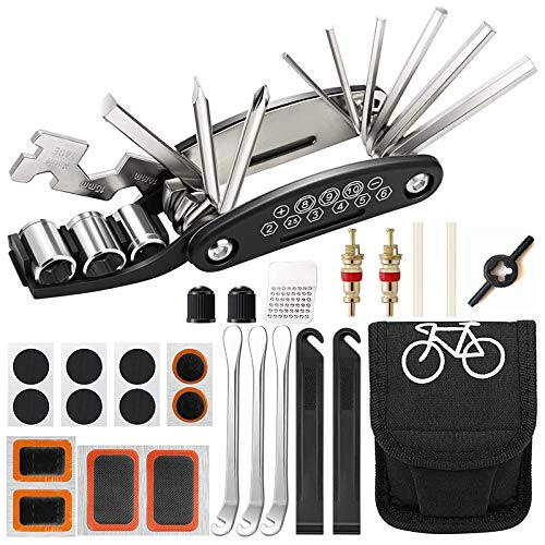 Fltaheroo Kit Herramientas para Bicicleta 27 Piezas, Kit ReparacióN Pinchazos, Herramienta MúLtiple Bicicleta, Accesorios Bicicleta MontaaA, Herramienta MultifuncióN para Bicicleta 16 en 1