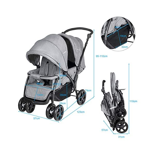 GYMAX Double Seat Stroller with Adjustable Push Handle and Foot Rest, Detachable Canopy, Foldable Baby Pushchair Buggy for Traveling, Going Shopping, Hanging Out GYMAX ✔DOUBLE SEAT DESIGN: The baby Stroller has front and back seats for two babies which can free your hand and no need for cuddling the baby, you can take care of two babies together. ✔MULTIPLE ADJUSTABLE POSITION: There are four adjustable parts: handlebar, canopy, footrest and backrest, the thoughtful design allow you to set a suitable position in different condition and make baby feel comfortable without crying. ✔360°SWIVEL WHEELS WITH BRAKES: The front wheels with anti-shock function can go any direction, the rear wheels have a connector that can be braked in one step. 9