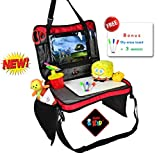 Kids Travel Tray Detachable 4 in 1 Portable Backseat Lap Tray Car Seat Play Organizer Tablet Holder for Kids, Snack Tray and Carry Bag with Dry Erase Top for Children All in One