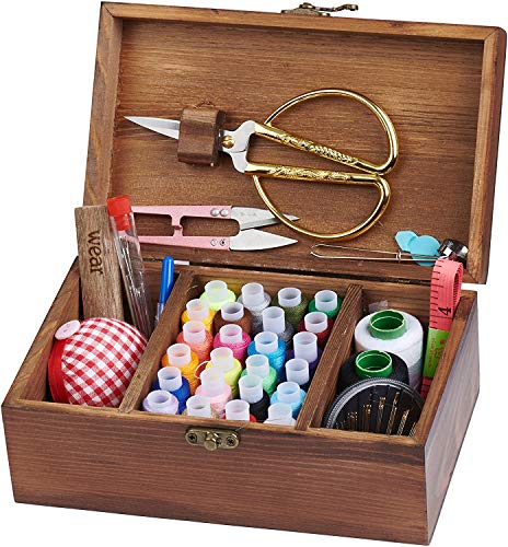 Home Wooden Sewing Kit Box for Adults Beginner Girls with Accessories Vintage Basic Sewing Basket Stitching Repair Kit