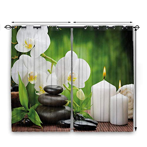 Spa Blackout Curtains for Bedroom Healing Zen Stones with Orchid and Burning Candles in a Romantic Harmony Happy Birthday Blackout Curtains W63 x L72 Black White and Green