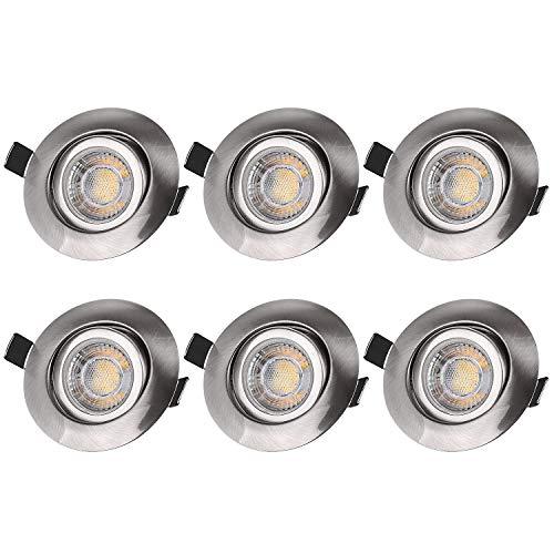 LED Einbaustrahler Dimmbar Flach 230V, 7W IP44 Schwenkbar Einbauleuchte LED Spots Deckenspot Warmweiß, Deckeneinbaustrahler für Bad, Wohnzimmer, Schlafzimmer, Esszimmer, Küche 6er Set