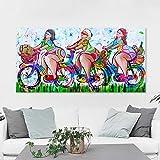 N / A Pintura sin Marco Arte de la Pared Lienzo Cuadro Pintura al óleo Cuadro Chica turista Restaurante decoración del hogar ZGQ7265 60x120 cm