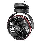 OPOLAR 10000 mAh Ventilador de Escritorio Pilas, Ventilador USB de 4 Velocidades, Recargable, Ajuste de Tiempo, Rotación de 360°, Ventilador de Clip para Dormitorio o Cinta de Correr - Negro