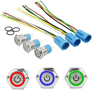 XLX 3 Sets 16mm 5 Pin Metal Momentary Latching Push Button Switch 1NO 1NC Self-Locking 12V DC On Off Stainless Steel Flat Head Waterproof LED Ring Illuminated Switch with Wire Socket Plug