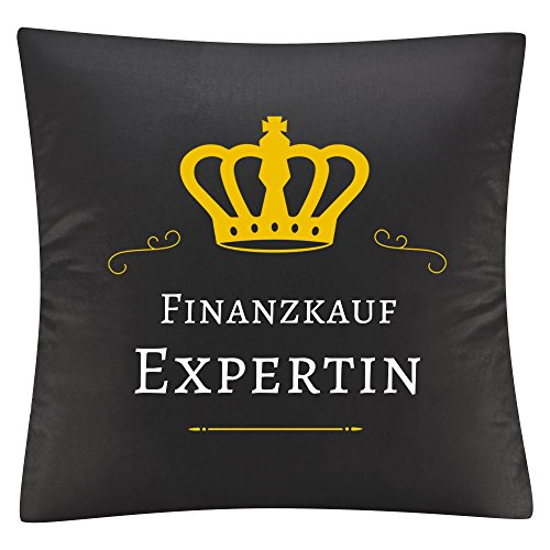 Multifanshop Kissenbezug Kissen Finanzkauf Expertin schwarz - Kuschelkissen Kopfkissen Dekokissen