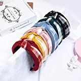 B/H Pelo Anchas Lisas Diademas para Mujer y Niña,6pcs Solid Color Plaid Middle Knot Wide Side Headband Fashionable Temperament Headband,Nudo Cruzado Diadema Ancho