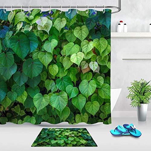 CDFD Lente Plant Groen Blad Stof Douchegordijnen Voor Badkamer Deurmat Waterdicht Polyester Bad Gordijn met Haken Home Decor, Gordijn en Mat, 180x180cm-72x72inch