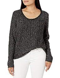 Black Sequin Long Sleeve Scoop Sweater