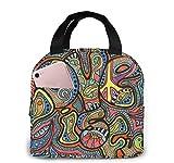 Bolsas de almuerzo hippie para mujeres, lonchera con aislamiento portátil, bolsa refrigeradora, bolsa Bento para viajes/picnic/trabajo