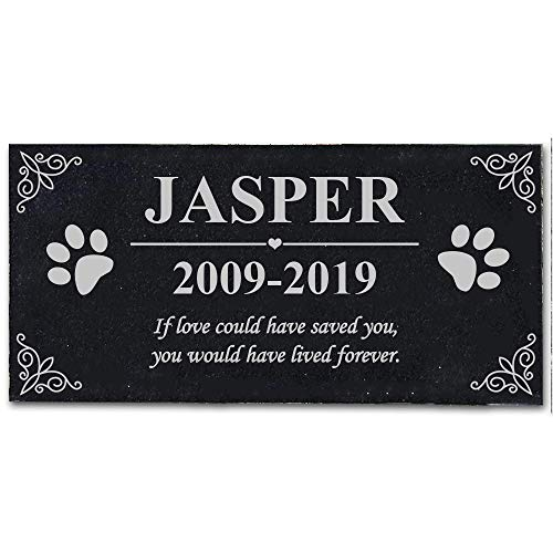 XBS 12x6 inchs Personalized Pet Memorial Stones, Black Granite Memorial Garden Stone Engraved with Pet Name, Gifts for Someone Who Lost a Pet, Dog, Cat