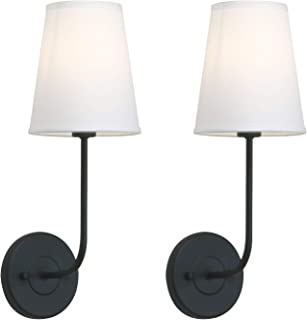 Pathson Industrial Wall Sconce with White Fabric Lamp Shade, 1-Light Vintage Indoor Wall Light Fixtures Suitable for Bedroom Living Room, Matte Black Finish 2-Pack (Black)