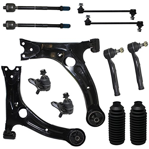 12-Piece Front Suspension Kit - Front Lower Control Arms + Lower Ball Joints + Sway Bar End Links +Tie Rod Ends (NOT FOR JAPAN MADE MODELS) - Check Vehicle Filter
