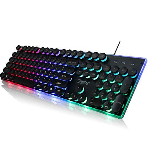 LED Backlit Mechanisch Gevoel Gaming Toetsenbord Zwart UK Indeling, Ergonomisch Ontwerp (Zwart)