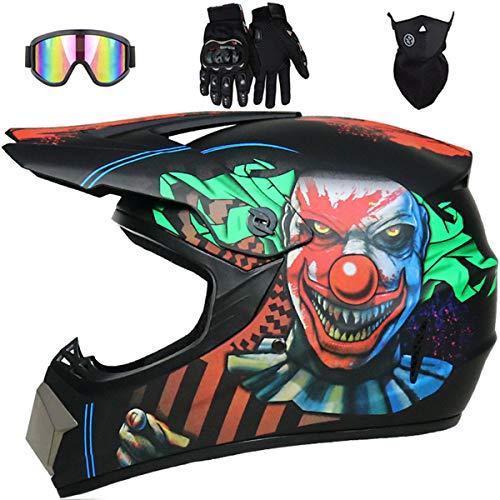 Casco da Motocross - MJH-001 Caschi da Moto Integrali Off-road per Bambini dai 5 ai 14 Anni - Casco da Motociclista Giovani Adulti per Discesa Enduro BMX MTB ATV con Occhiali Guanti Maschera - Clown