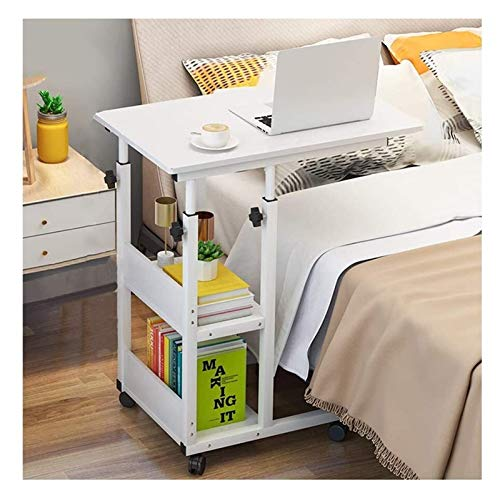 YYDD Bed Tables for Eating and Laptops Overbed Table, Home Rolling Mobile Computer Desk Table Hospital Bed Table Over Bed Sofa Laptop Wheels Side Table Sofa Desk