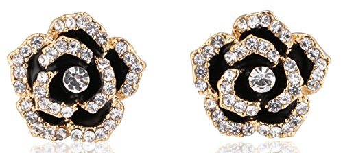 Fashion jewelry rhinestone designer statement camellia rose flower small stud earrings for women (Gold)