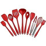 IdealHouse Set de espátulas de Silicona Utensilios de Cocina espátula Resistente al Calor (10 Juegos Rojo)