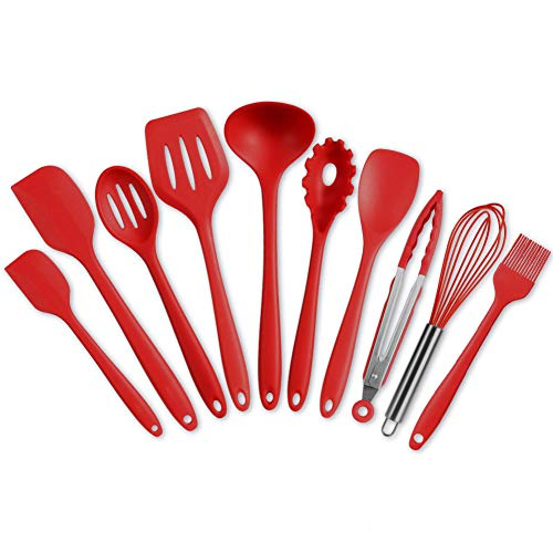 Silikon Spachtel Set Hitzebeständiges Spachtel Geschirr (10 Rot)