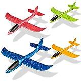 MOOKLIN ROAM 4 PCS Niños Planos de Espuma, 44cm Avión Planeador, Grande Glider Juguete Deportes Al Aire Libre Volar Juego con Dos Modelos de Vuelo para Niños Niñas Favores de la Fiesta