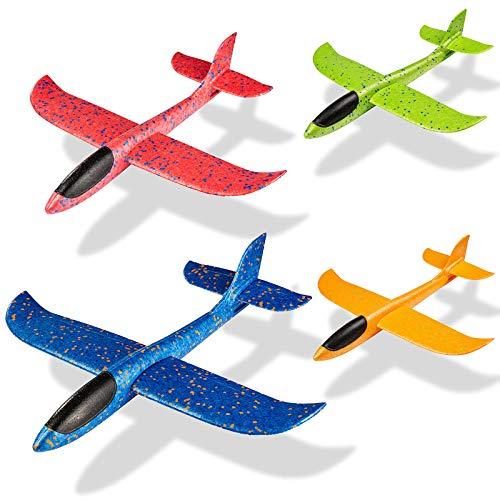 MOOKLIN ROAM 17.3 Zoll Kinder Schaum Flugzeug, 4 Stück Styroporflieger Flugzeuge Modell, Outdoor Sport Spiel Spielzeug, Segelflugzeug, Leichtflugzeug Hand werfen, Wurfgleiter für Kinder Jungen Mädchen