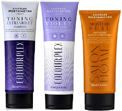 (3 PAQUETE) Charles Worthington Colourplex ULTRA VIOLET Shampoo x 250ml y Colourplex VIOLET Acondicionador x 250ml y Charles Worthington Sello de humedad DEJAR EN ACONDICIONADOR x 200ml