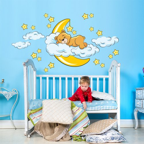 wall art R00040 Wandaufkleber für Kinder Bär süße Träume, Wallpaper, Colorful, 120x30x0,1 cm