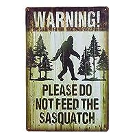 ノートプレート警告サスカッチ面白い屋外道路標識に餌を与えないでください-20x30cm