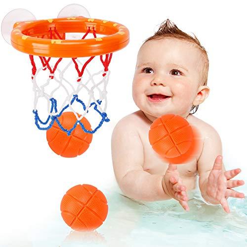 NASHRIO Baby Bad Spielzeug Spaß Basketball Korb und Ball Set, Jungen und Mädchen Bad Spielzeug Geschenk Set 3 Bälle