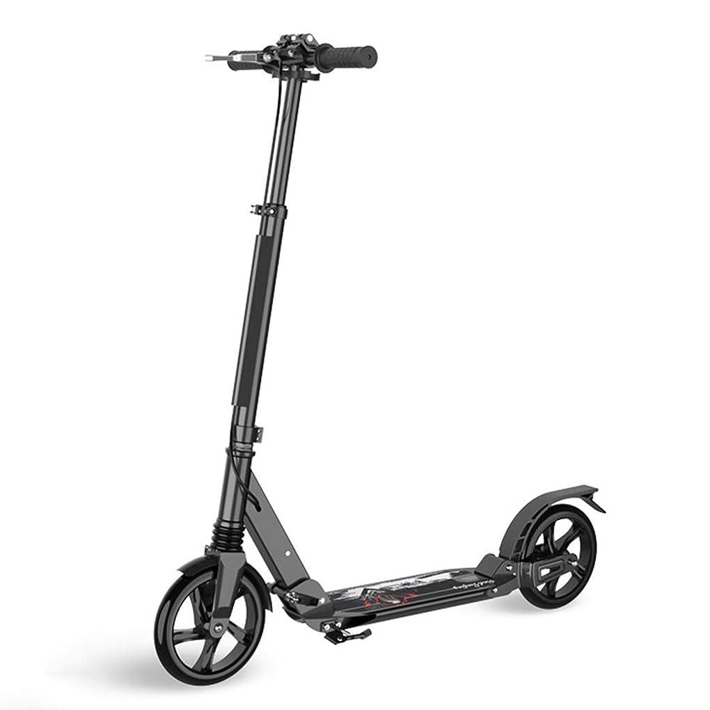 材料ダメージジュースキックボード キックスクーター ミニ大人のスクーター、ハンドブレーキ付き、2ホイール通勤の誕生日プレゼント、少年少女、サポート100kg、非電気 (色 : B)