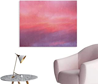 Anzhutwelve Coral Photo Wall Paper Beautiful Vanilla Sky with Clouds Tenderness Dreamy Unreal Soft Heavenly Custom Poster Pale Pink Coral Lilac W32 xL24