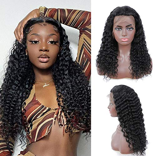 UpgradeU Lace Front Wigs Human Hair Pre Plucked with Baby Hair 150% Density Brazilian Deep Wave Lace Front Human Hair Wigs for Black Women (13x4 Lace Front, 18
