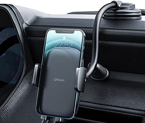 Cell Phone Holder for Car Phone Mount Long Arm Dashboard Windshield Car Phone Holder Strong Suction Anti-Shake Stabilizer iPhone Car Holder Compatible with All iPhone Android Smartphone