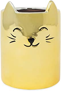 Isaac Jacobs Gold Ceramic Cat Makeup Brush Holder, Multi-Purpose Cup Organizer. Bathroom, Kitchen, Bedroom, Office Décor (Single Cup, Metallic Gold)
