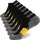 WANDER Men's Athletic Running Socks 7 Pairs Thick Quarter Socks Cushion Ankle Socks for Men Sport Low Cut Socks(7 Pairs Black Yellow,Size:10-12)