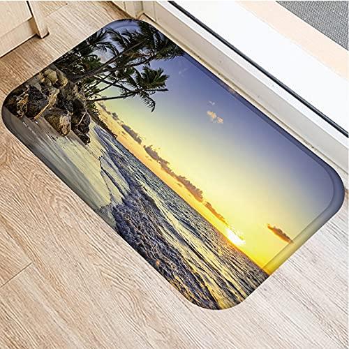 OPLJ Felpudo con Estampado de Brisa Marina de Playa de Coco, Felpudo Absorbente Antideslizante para baño y Cocina, Felpudo de decoración del hogar A7 40x60cm