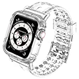 Bands Compatible with Apple Watch Band 38mm 40mm 42mm 44mm with Protective Bumper Transparent Case for iWatch Series 6 5 4 3 2 1 SE, Crystal Clear Sport Watch Strap for Women and Men(38/40mm)