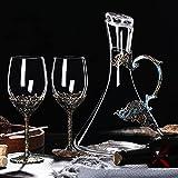 Elegante vino Respirador jarra vintage decantador creativo vino jarra mesa vino tinto jarra copa europeo decoración del hogar para vino tinto coñac bourbon whisky irlandés escocés C 1500ml+350mlx2pcs