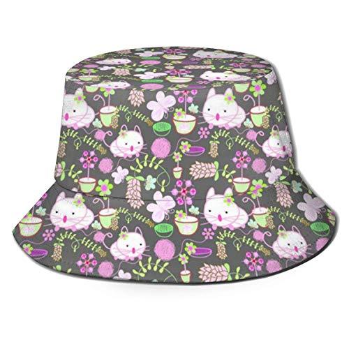 Sombrero para el Sol Unisex, Sombrero Boonie, Gorra de Pescador, Gorra Lisa Informal, Gorro de Playa, Gorra de Cubo, Modelo de Juguete Gato Sombreros de Sol de Cubo