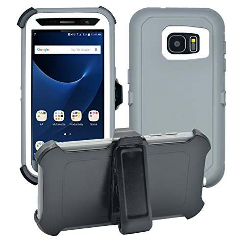 Samsung Galaxy S7 Cover   2-in-1 Screen Protector & Holster Case   Full Body Military Grade Edge-to-Edge Protection with carrying belt clip  Drop Proof Shockproof Dustproof   Grey / White